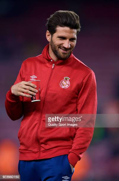 Carles Planas of Girona looks on prior the La Liga match between Barcelona and Girona at Camp Nou on February 24 2018 in Barcelona Spain