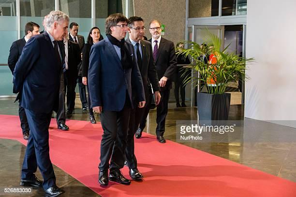 Carles Puigdemont president of Catalonia with Josep Maria Bartomeu president of FC Barcelona during the memorial of Johan Cruyff in Camp Nou Stadium...