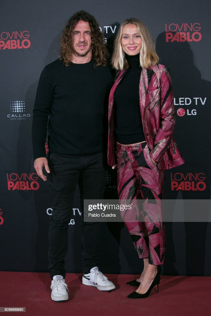 Carles Puyol and Vanesa Lorenzo attend the 'Loving Pablo' premiere at Callao Cinema on March 7, 2018 in Madrid, Spain.