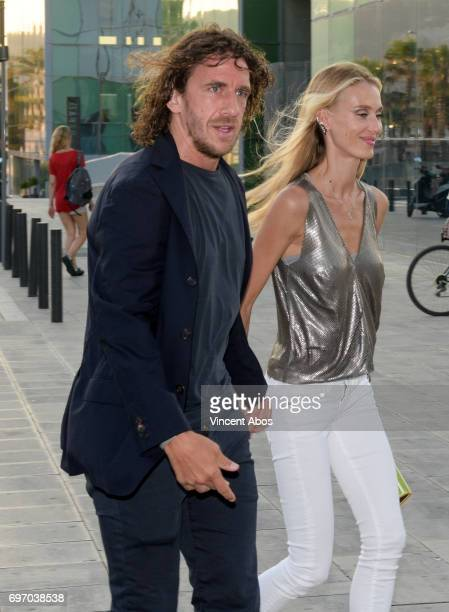 Carles Puyol and Vanessa Lorenzo are seen arriving at the Hotel W on June 17 2017 in Barcelona Spain
