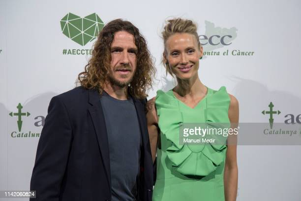 Carles Puyol and Vanessa Lorenzo participates in the charity dinner to raise funds against cancer on April 11, 2019 in Barcelona, Spain.