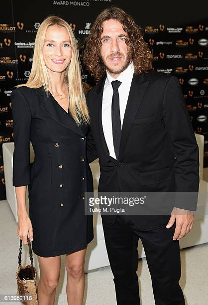 Carles Puyol and wife Vanessa Lorenzo attend the Golden Foot Ceremony Award on October 11 2016 in Monaco Monaco