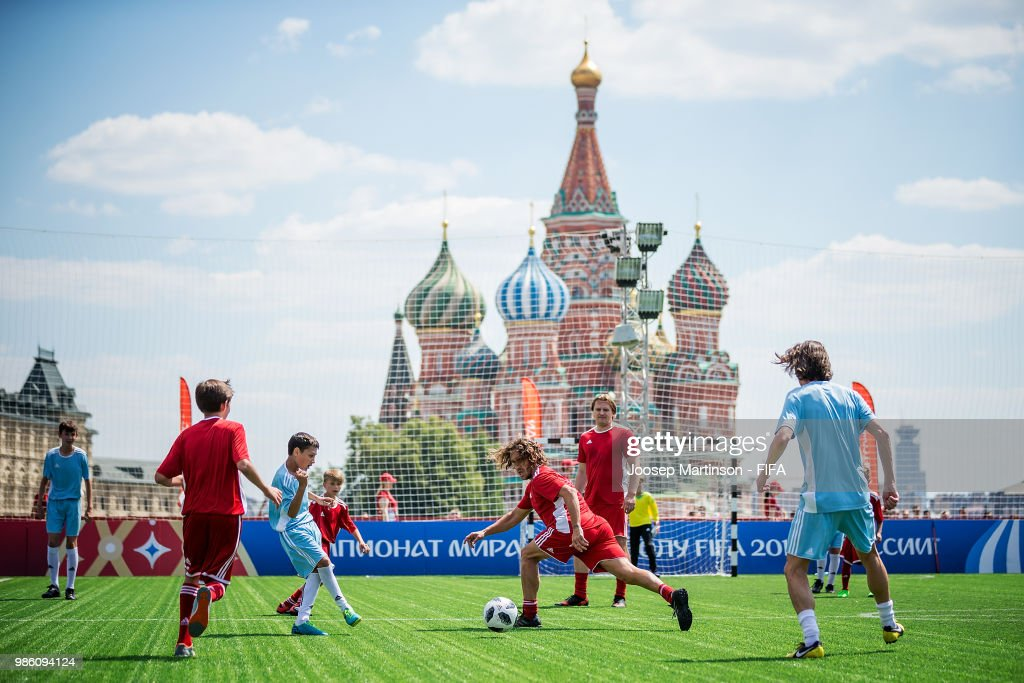 Carles Puyol defends during a Football Event at Red Square on June 28, 2018 in Moscow, Russia.