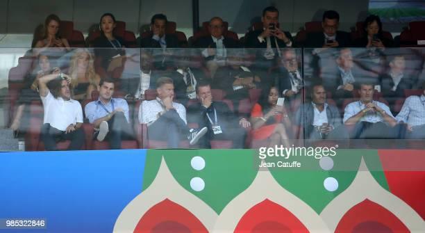 Carles Puyol Iker Casillas Peter Schmeichel Lothar Matthaus Christian Karembeu during the 2018 FIFA World Cup Russia group C match between Denmark...