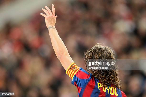 Carles Puyol of Barcelona i seen during the UEFA Champions League round of sixteen first leg match between VfB Stuttgart and FC Barcelona at...