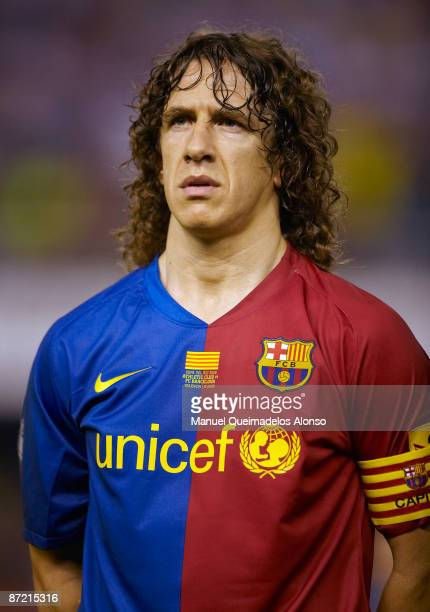 Carles Puyol of Barcelona looks on before the Copa del Rey final match between Barcelona and Athletic Bilbao at the Mestalla stadium on May 13 2009...
