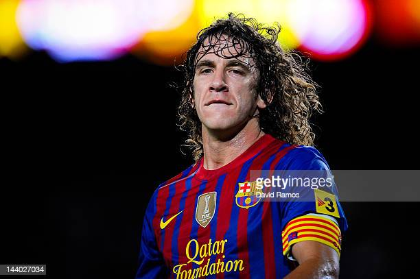 Carles Puyol of FC Barcelona looks on during the La Liga match between FC Barcelona and RCD Espanyol at Camp Nou on May 5, 2012 in Barcelona, Spain.