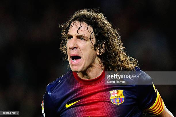 Carles Puyol of FC Barcelona reacts during the La Liga match between FC Barcelona and RC Deportivo La Coruna at Camp Nou on March 9, 2013 in...