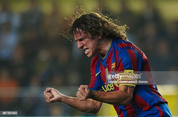 Carles Puyol of FC Barcelona reacts during the La Liga match between Villarreal CF and FC Barcelona at El Madrigal stadium on May 1, 2010 in...