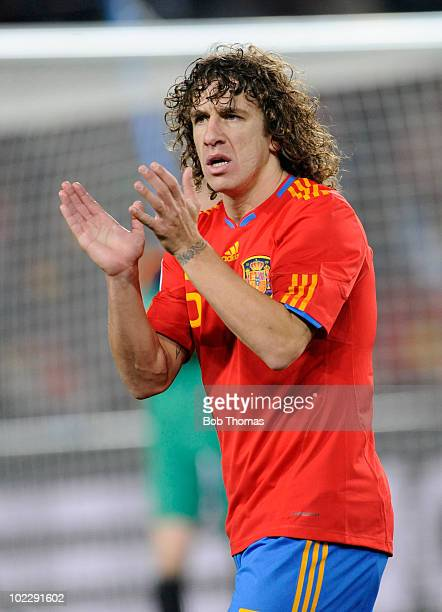 Carles Puyol of Spain during the 2010 FIFA World Cup South Africa Group H match between Spain and Honduras at Ellis Park Stadium on June 21, 2010 in...