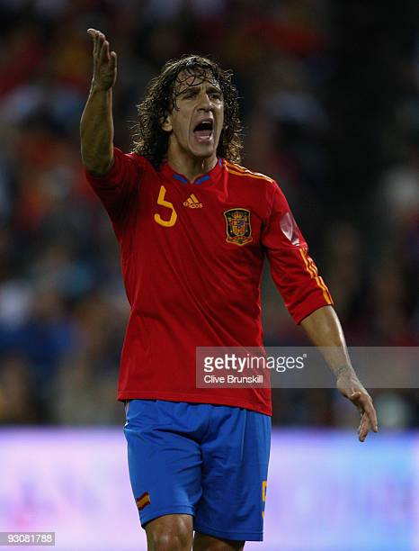 Carles Puyol of Spain in action during the friendly International football match Spain against Argentina at the Vicente Calderon stadium in Madrid on...