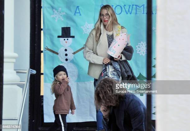 Part of this image has been pixellated to obscure the identity of the child Carles Puyol Vanesa Lorenzo and thei daughter Manuela Puyol are seen on...