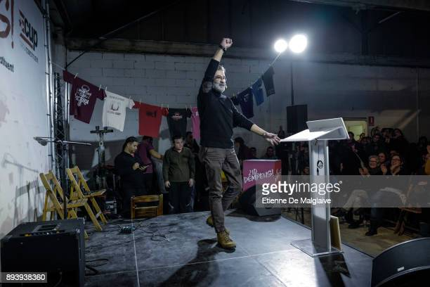 Carles Riera leader of the Catalan proindependence anticapitalist party 'Candidatura d'Unitat Popular CUP' delivers a speech at a campaign meeting...