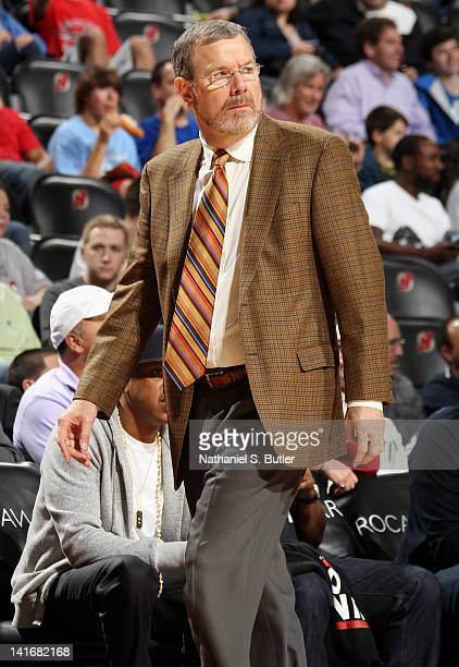 J Carlesimo assistant coach of the New Jersey Nets looks on during the game against the Washington Wizards on March 21 2012 at the Prudential Center...