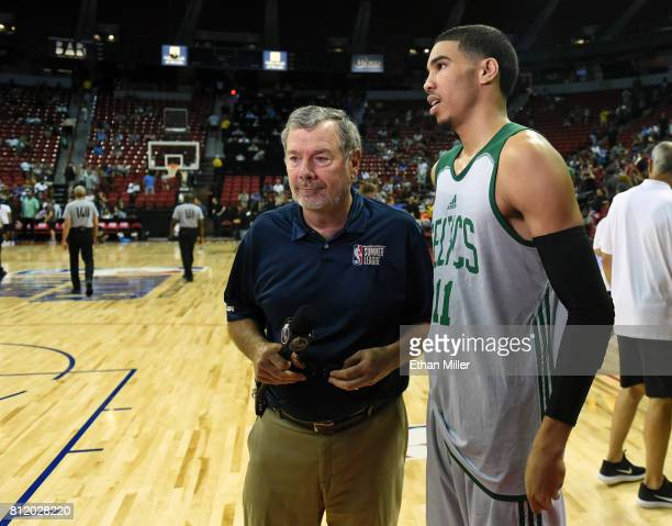 J Carlesimo gets ready to interview Jayson Tatum of the Boston Celtics after the team's 7064 win over the Portland Trail Blazers in a 2017 Summer...