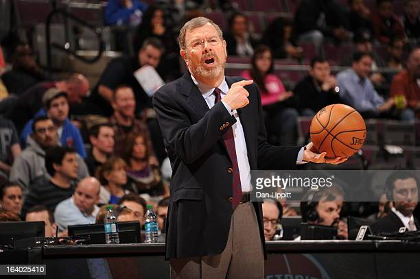 J Carlesimo Head Coach of the Brooklyn Nets reacts during the game against the Detroit Pistons on March 18 2013 at The Palace of Auburn Hills in...