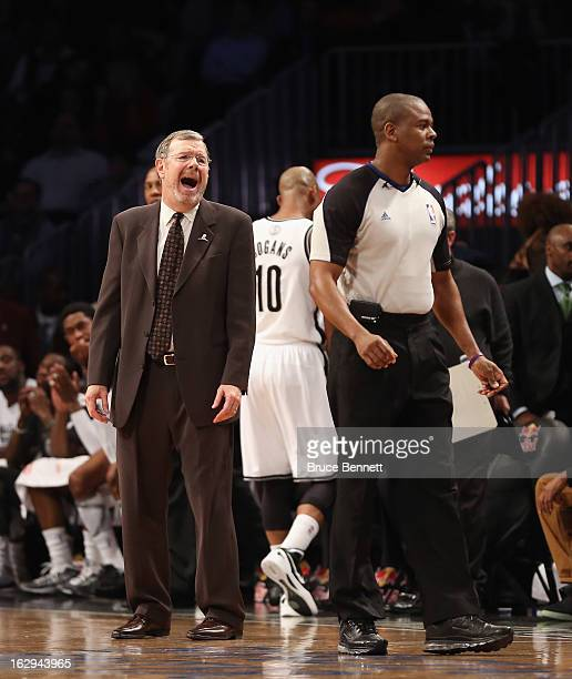J Carlesimo of the Brooklyn Nets argues a call during the game against the Dallas Mavericks at the Barclays Center on March 1 2013 in New York City...