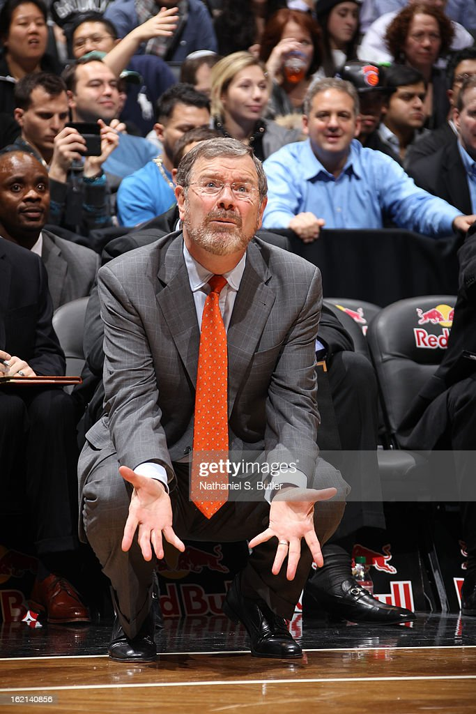 P.J. Carlesimo of the Brooklyn Nets calls plays from the bench during the game against the Los Angeles Lakers on February 5, 2013 at the Barclays Center in the Brooklyn borough of New York City.