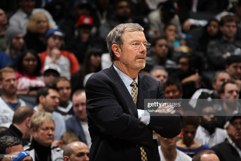 P.J. Carlesimo of the Brooklyn Nets looks on as his team plays against the Orlando Magic on January 28, 2013 at the Barclays Center in the Brooklyn borough of New York City.