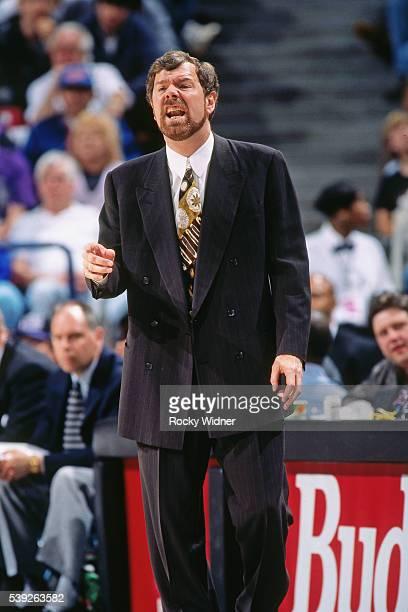 J Carlesimo of the Portland Trail Blazers coaches against the Sacramento Kings circa 1996 at Arco Arena in Sacramento California NOTE TO USER User...