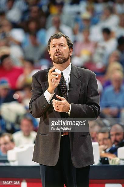 J Carlesimo of the Portland Trail Blazers coaches against the Sacramento Kings circa 1998 at Arco Arena in Sacramento California NOTE TO USER User...