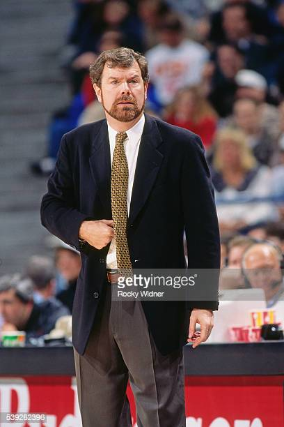 J Carlesimo of the Portland Trail Blazers looks on against the Sacramento Kings circa 1996 at Arco Arena in Sacramento California NOTE TO USER User...