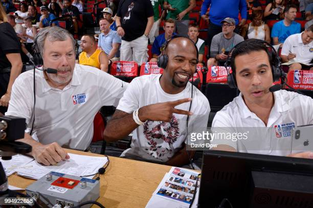 P J Carlesimo Richard Hamilton and Jorge Sedano during the game between the New Orleans Pelicans and the Detroit Pistons during the 2018 Las Vegas...