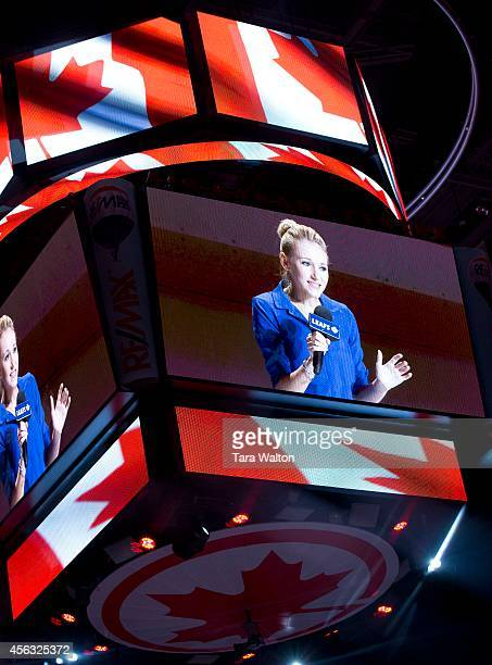 Carley Allison sings the national anthem before the Leafs Sabres game Sunday September 28 2014 at the Air Canada Centre Carley who is fighting and...