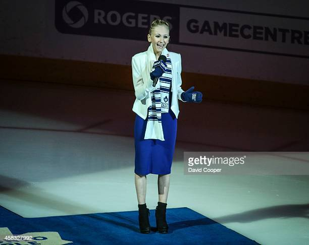 Carley Allison sings the National anthems before the game between the Toronto Maple Leafs and the Chicago Blackhawks at the Air Canada Centre