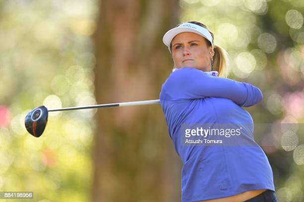 Carley Booth of Scotland hits her tee shot on the 14th hole during the second round of the Queens at Miyoshi Country Club on December 2 2017 in...