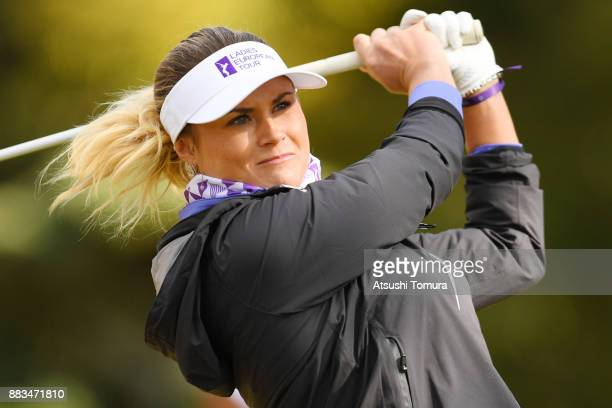 Carley Booth of Scotland hits her tee shot on the 2nd hole during the first round of the Queens at Miyoshi Country Club on December 1 2017 in Miyoshi...