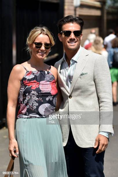 Carley Stenson and Danny Mac seen outside Wimbledon AELTC on July 3 2018 in London England