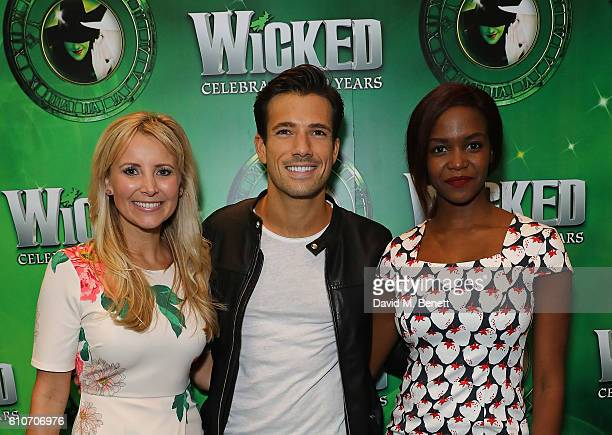 Carley Stenson Danny Mac and Otile Mabuse attend the hit musical Wicked celebrating 10 years at The Apollo Victoria Theatre on September 27 2016 in...