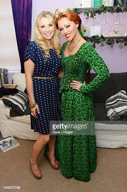 Carley Stenson poses with Kimberley Walsh backstage at the last night of Kimberley Walsh's run as Fiona in the musical 'Shrek' at The Theatre Royal...