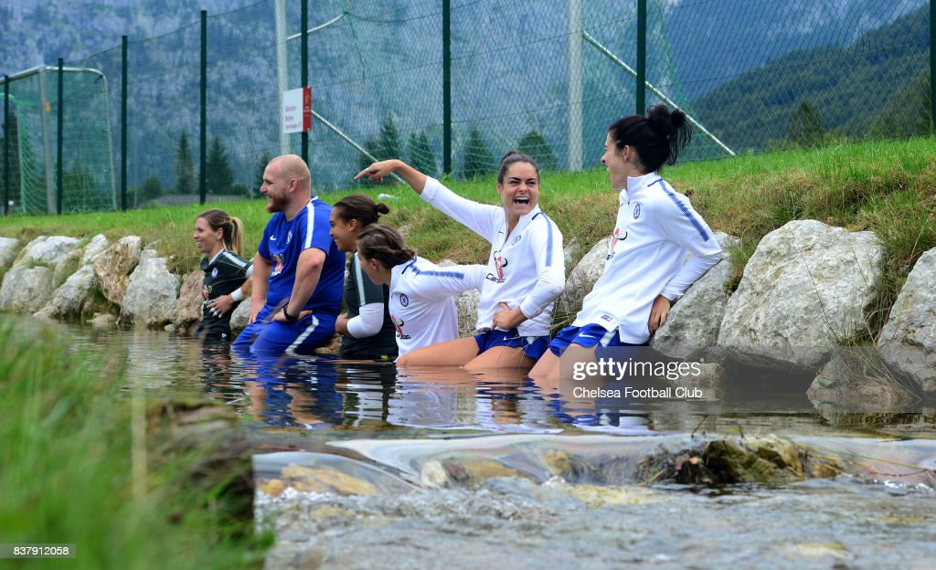 Carley Telford, Becky Spencer, Erin Cuthbert, Karen Carney and Claire Rafferty take their ice baths in the river on August 23, 2017 in Schladming, Austria.