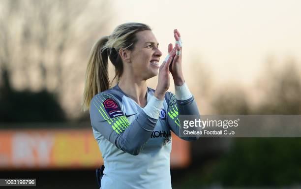 Carley Telford of Chelsea claps off the fans during a WSL match between Chelsea Women and Yeovil Town Ladies FC at The Cherry Red Records Stadium on...