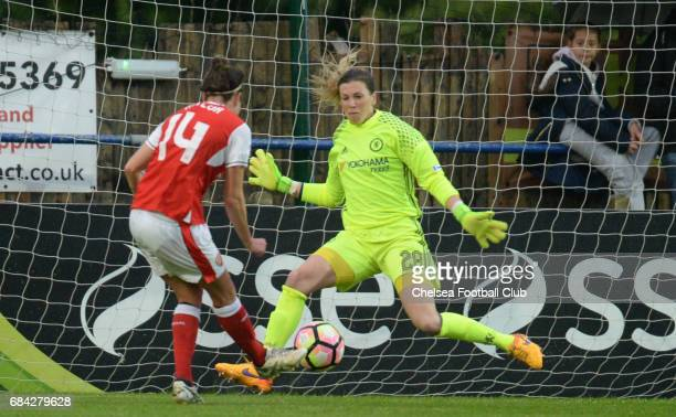 Carley Telford of Chelsea makes a save during a WSL 1 match between Chelsea Ladies FC and Arsenal Ladies FC on May 17 2017 in Staines England