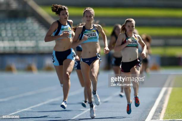 Carley Thomas of NSW competes in the Women's 800m Preliminary Final during day four of the Australian Junior Athletics Championships at the Sydney...