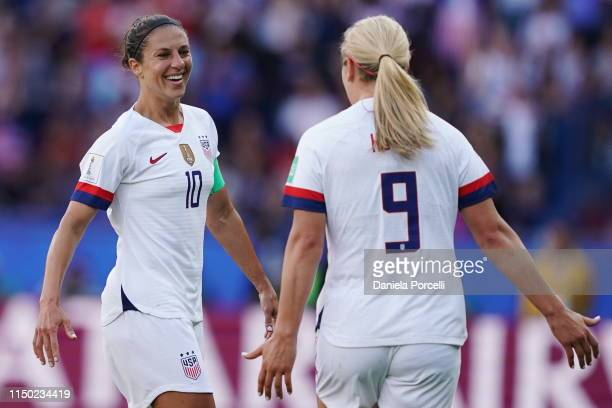Carli Lloyd and Lindsey Horan of the USA celebrate their goal during the 2019 FIFA Women's World Cup France group F match between USA and Chile at...