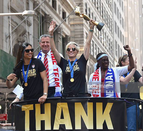 Carli Lloyd Mayor Bill De Blasio Megan Rapinoe and Chirlane McCray during New York City Holds Ticker Tape Parade For World Cup Champions US Women's...