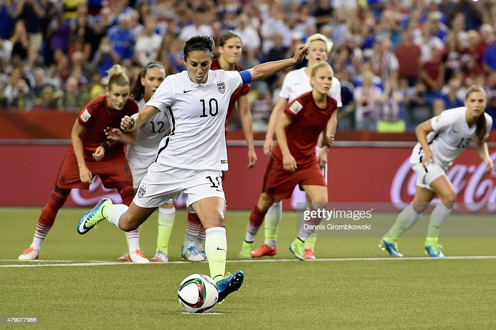 Carli Lloyd of Germany scores the opening goal from a penalty in the FIFA Women's World Cup 2015 Semi-Final Match at Olympic Stadium on June 30, 2015 in Montreal, Canada.