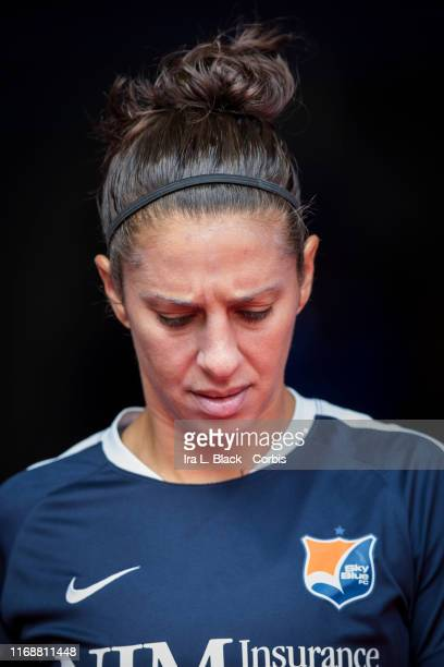 Carli Lloyd of Sky Blue FC walks into the stadium for the National Women's Soccer League match between Sky Blue FC and Seattle Reign FC The match was...