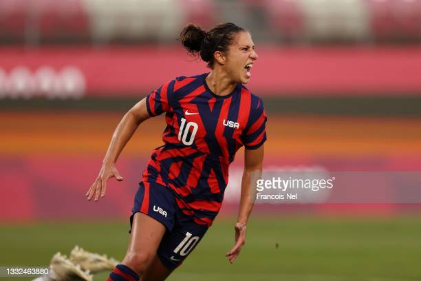 Carli Lloyd of Team United States celebrates after scoring their side's fourth goal during the Women's Bronze Medal match between United States and...