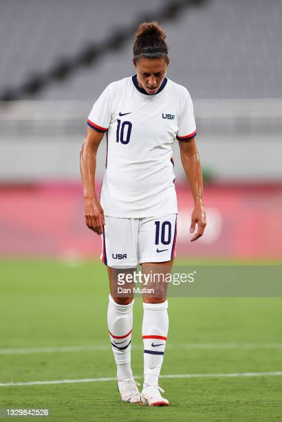 Carli Lloyd of Team United States looks dejected during the Women's First Round Group G match between Sweden and United States during the Tokyo 2020...