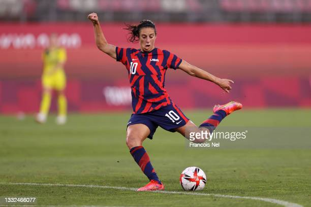 Carli Lloyd of Team United States shoots during the Women's Bronze Medal match between United States and Australia on day thirteen of the Tokyo 2020...