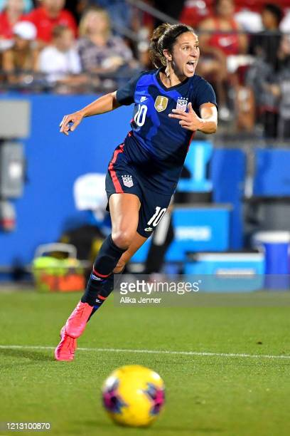 Carli Lloyd of the United States calls out to her teammates during the second half of the SheBelieves Cup match against Japan at Toyota Stadium on...