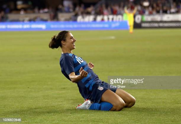 Carli Lloyd of the United States celebrates her first goal of the night against Chile during their match at Avaya Stadium on September 4 2018 in San...