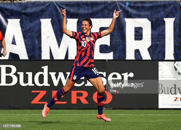 Carli Lloyd of the United States celebrates her goal in he first half against Mexico during the Send Off series match at Pratt & Whitney Stadium at...