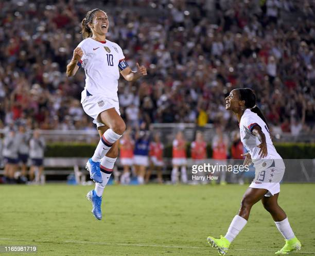 Carli Lloyd of the United States celebrates her goal with Crystal Dunn to take a 30 lead over the Republic of Ireland during the first half of the...