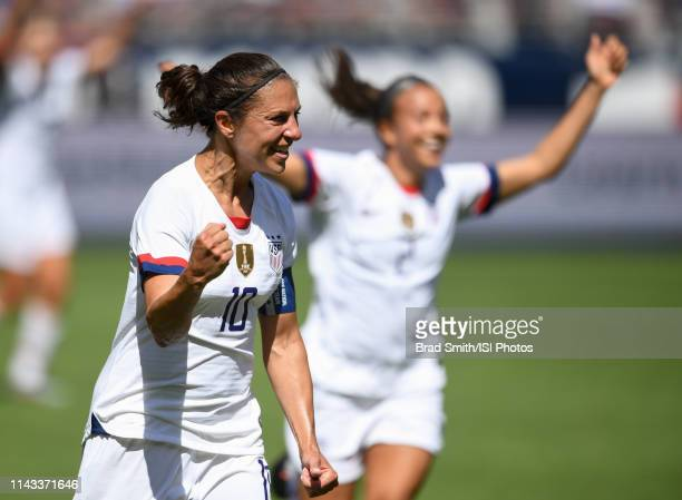Carli Lloyd of the United States celebrates scoring during an international friendly match between the womens national teams of the United States and...